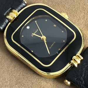 Vintage Ronica Black and Gold 18K GP Wrist Watch